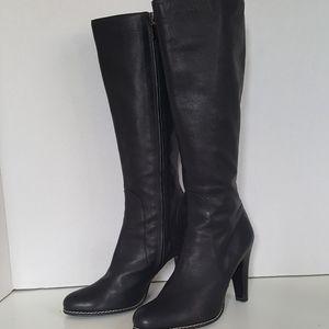 Bruno magli Black Leather Heeled Knee High Boots